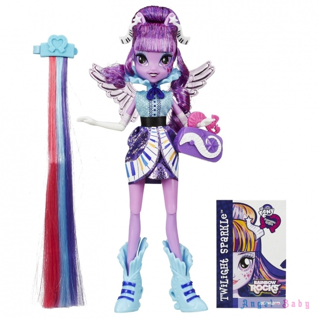Кукла My Little Pony Equestria Girls Rainbow Rocks Twilight Sparkle Rockin Hairstyle Твайлайт Спаркл Рок Прическа 22,5 см (США) B1037/B1036